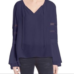 Parker 100% Silk navy long sleeve blouse